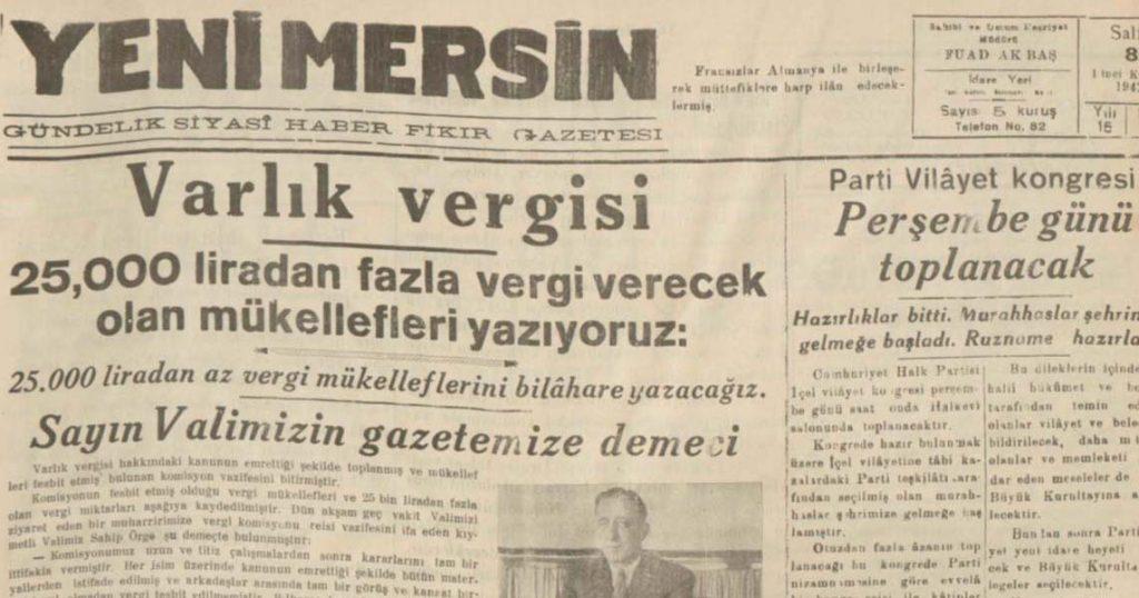 Mersin'de Varlık Vergisi: Bedeli Ağır Adlar